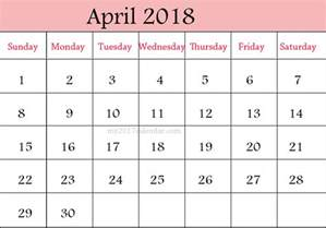 Calendar Of April 2018 April 2018 Calendar Calendar Printable Free