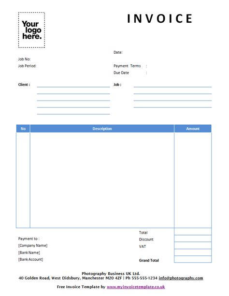 templates for photo invoice template uk word sle invoice word