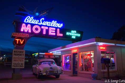 Modern Vintage Desk Blue Swallow Motel Route 66 Classic Midwest Wanderer