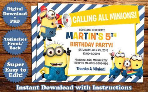 Instant Download Minions Birthday Invitation Template Birthday Invitation Templates Minion Birthday Invitations Templates Free