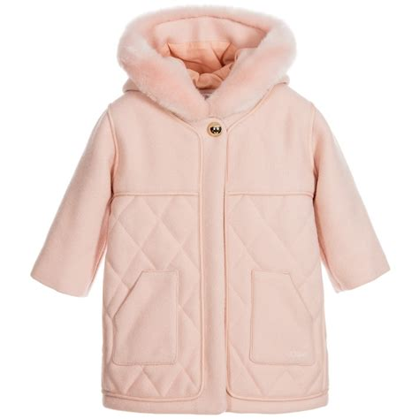Baby Coat chlo 233 baby pink wool coat with childrensalon