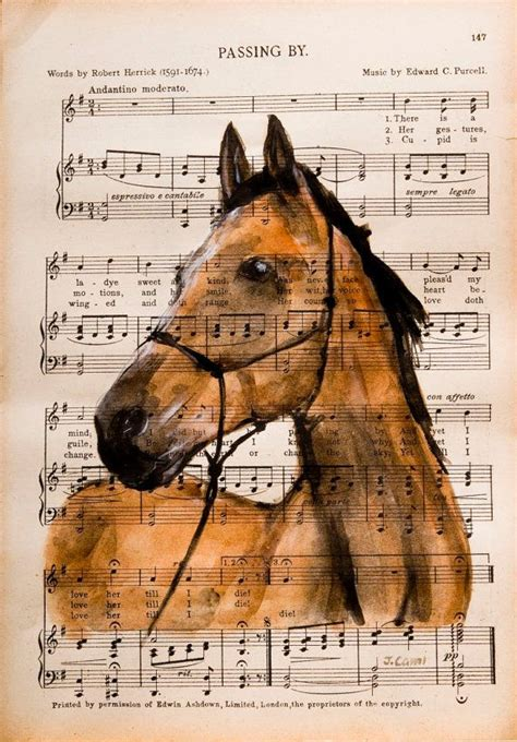 on horsemanship books i original watercolor on antique book page the