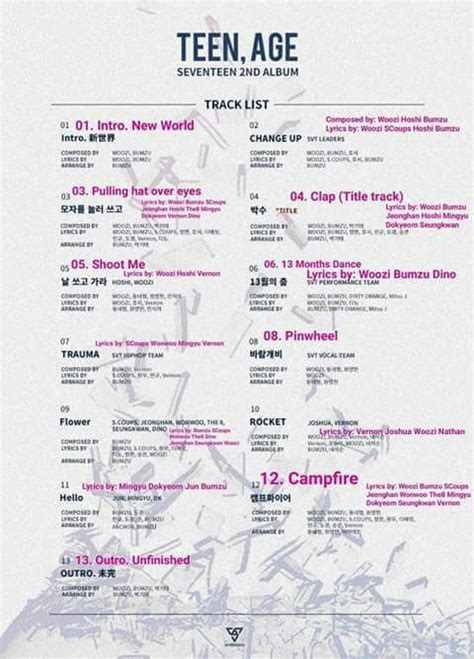 Seventeen 2nd Album Age seventeen 2nd album age track list carat 캐럿 amino