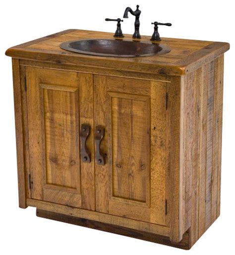 barnwood vanity with hammered copper sink rustic