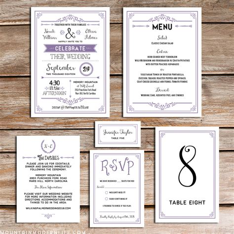 wedding invitations sets printable lavender diy wedding invitation set