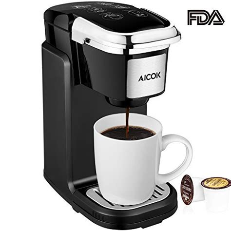 Aicok Single Serve Coffee Maker, Single Cup Travel Coffee Brewer with Removable Cover for Most