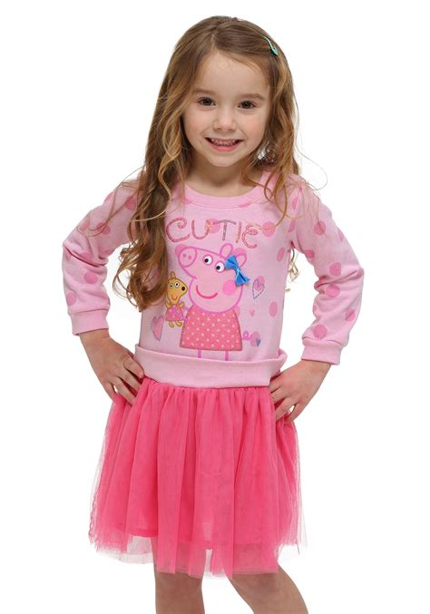 peppa pig pink cutie tutu toddler sleeve dress