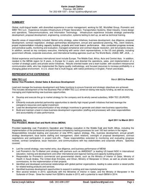 vp sales business development in washington dc resume karim zakhour docshare tips