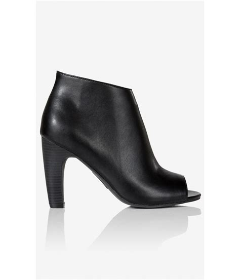 high heel peep toe booties lyst express peep toe high heel bootie in black