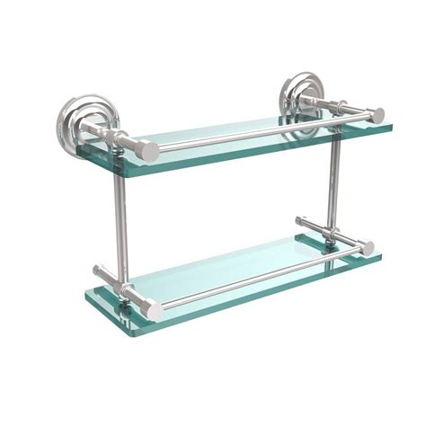 Chrome And Glass Bathroom Shelves Allied Brass Que New 16 In L X 8 In H X 5 In W 2 Tier Clear Glass Bathroom Shelf With Gallery