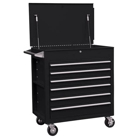 6 Drawer Full Drawer Professional Duty Tool Cart Black