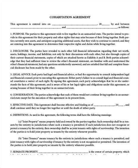 cohabitation agreement template free cohabitation agreement template 7 free sle exle