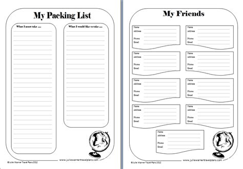 7 best images of travel journal printable template free