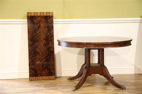 small 48 inch mahogany pedestal dining table with leaf