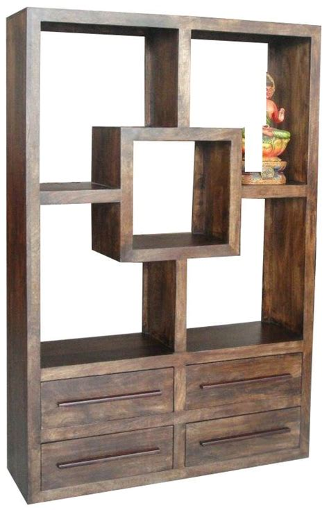 jaipur furniture walnut bookcase 4 drawers