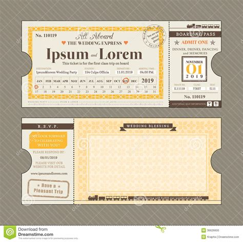 Ticket Style Invitation Template vector ticket wedding invitation design template