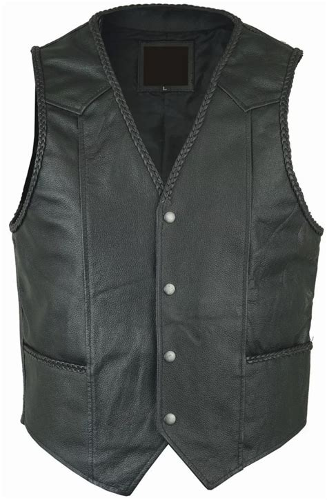 Handmade Vests - new handmade mens black leather biker waistcoat vest cut