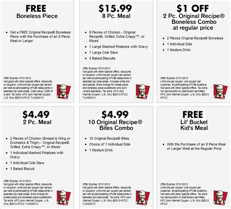 Buy Kfc Gift Card Online - kfc fast food coupons printable coupons online