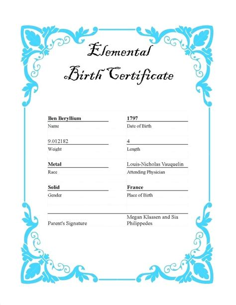 baby doll birth certificate template baby doll birth certificate template gallery template