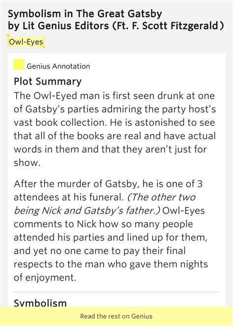 symbolism great gatsby owl eyes owl eyes symbolism in the great gatsby by lit genius editors