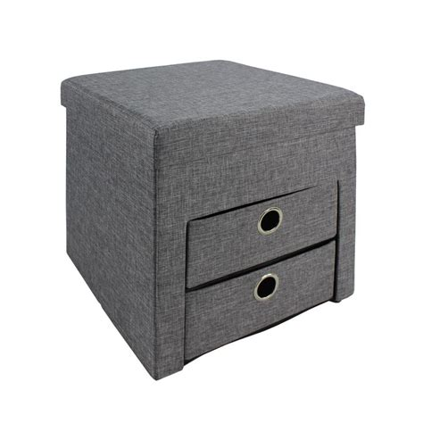 ottoman with drawers 15 74 in w x 15 74 in h gray folding ottoman with 2