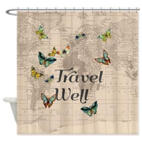 Travel Shower Curtain by Travel Well Quote Shower Curtain With From Mapology On Etsy
