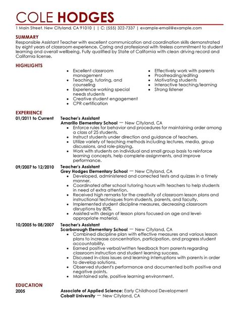 Resume For Teaching Assistant assistant resumes best letter sle