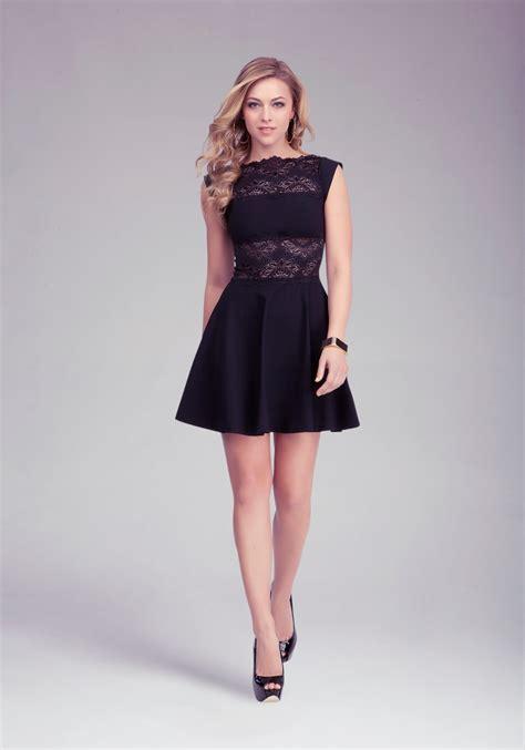 bebe lace panel midriff dress  black lyst