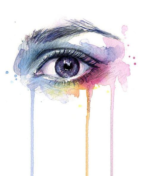 beautiful water drip beautiful eye rainbow watercolor print