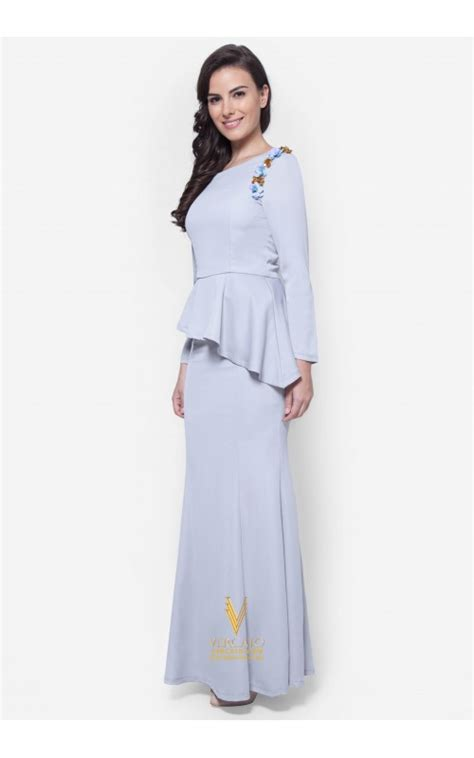 Basic Dress Laila baju kurung moden peplum vercato laila in grey