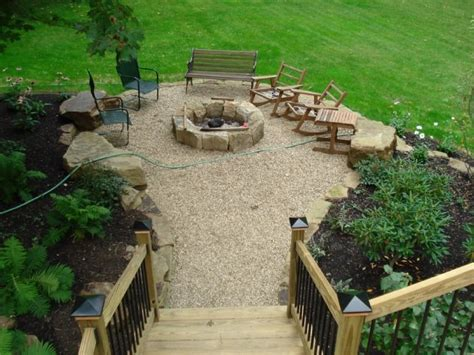 backyard off pea gravel patio outdoor rooms patio gazebo firepits