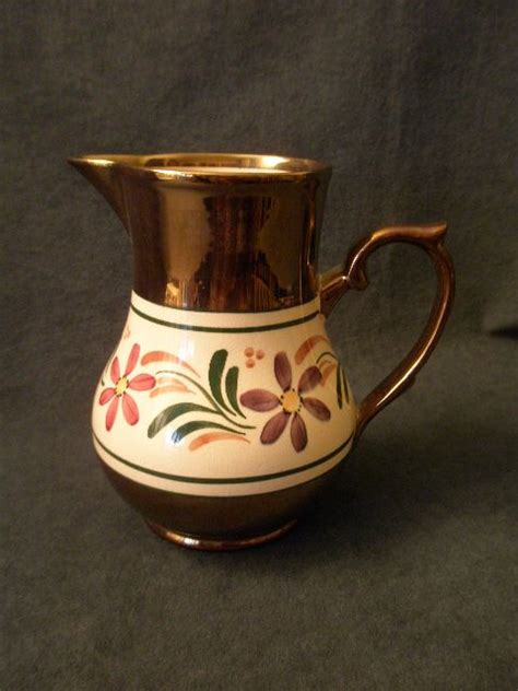 Wade Vases Antiques by Wade Heath Co Copper Lustre Milk Pitcher W Enameled