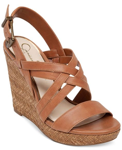 light brown wedge heels lyst jessica simpson julita platform wedge sandals in brown
