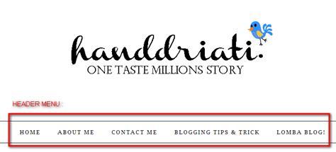 membuat menu header html bagaimana cara membuat header menu di blog blogspot one
