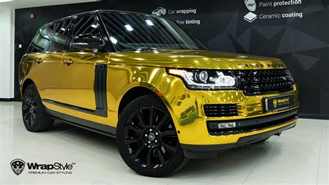 black and gold range rover wrapstyle premium car wrap car dubai chrome