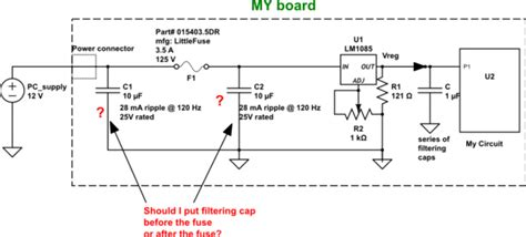 bulk capacitor pdf voltage regulator filtering capacitors before the fuse or after the fuse while limiting inrush