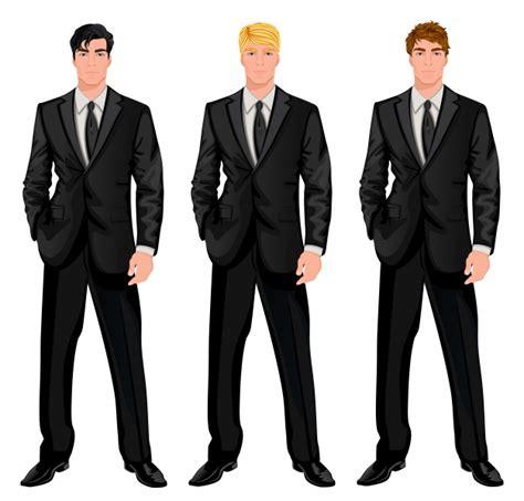 three men in a three men in black suit vector free download