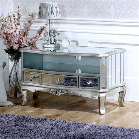 Mirrored Tv Cabinet Living Room Furniture Mirrored Vintage Style Tv Cabinet Unit Shabby Chic Living Room Furniture Ebay