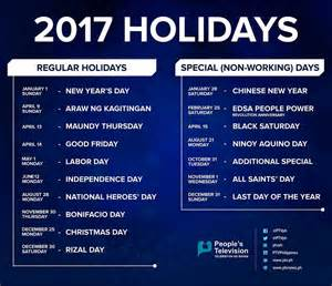 Calendar 2018 With Holidays Philippines List Of Philippine Holidays In 2017 Philippine Primer