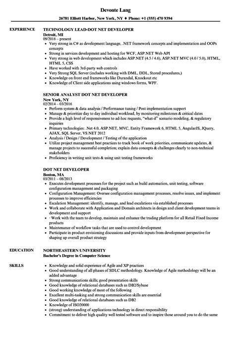 sle resume for dot net developer experience 2 years dot net developer resume sles velvet