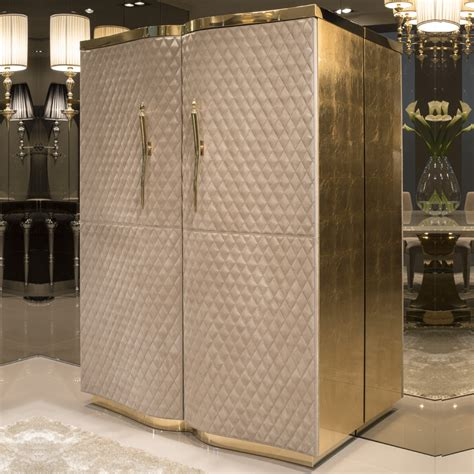 Quilted Nubuck Leather Luxury Cabinet   Juliettes Interiors