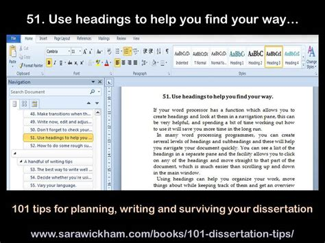 dissertation tips dissertation tip 51 use headings to help you find your