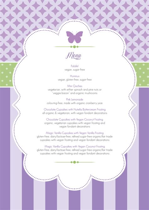 baby shower menu template free 3 best agenda templates