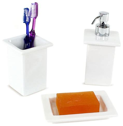 Minnesota White Porcelain Bathroom Accessory Set Contemporary Bathroom Accessory Sets