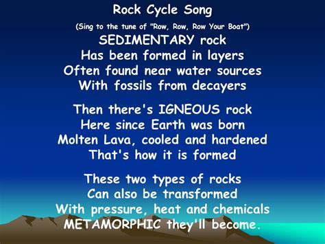 rock the boat c song the rock cycle ppt download