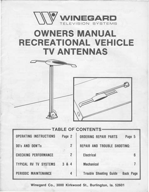 1983 fleetwood pace arrow owners manuals winegard rv tv antenna owners and operation manual