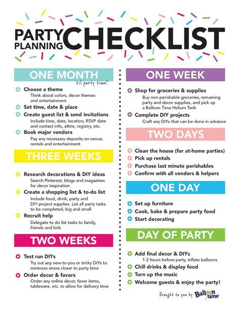 26 Life easing Birthday Party Checklists   KittyBabyLove.com