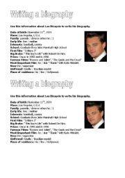 leonardo dicaprio biography book pdf english worksheet leo dicaprio 180 s biography