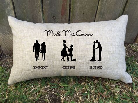 best gift for couples wedding anniversary silhouette timeline couples pillow for bridal shower