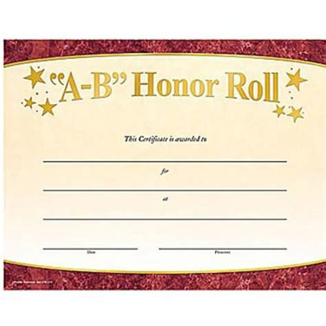 a b honor roll certificate template 10 best images of honor roll certificates free printable